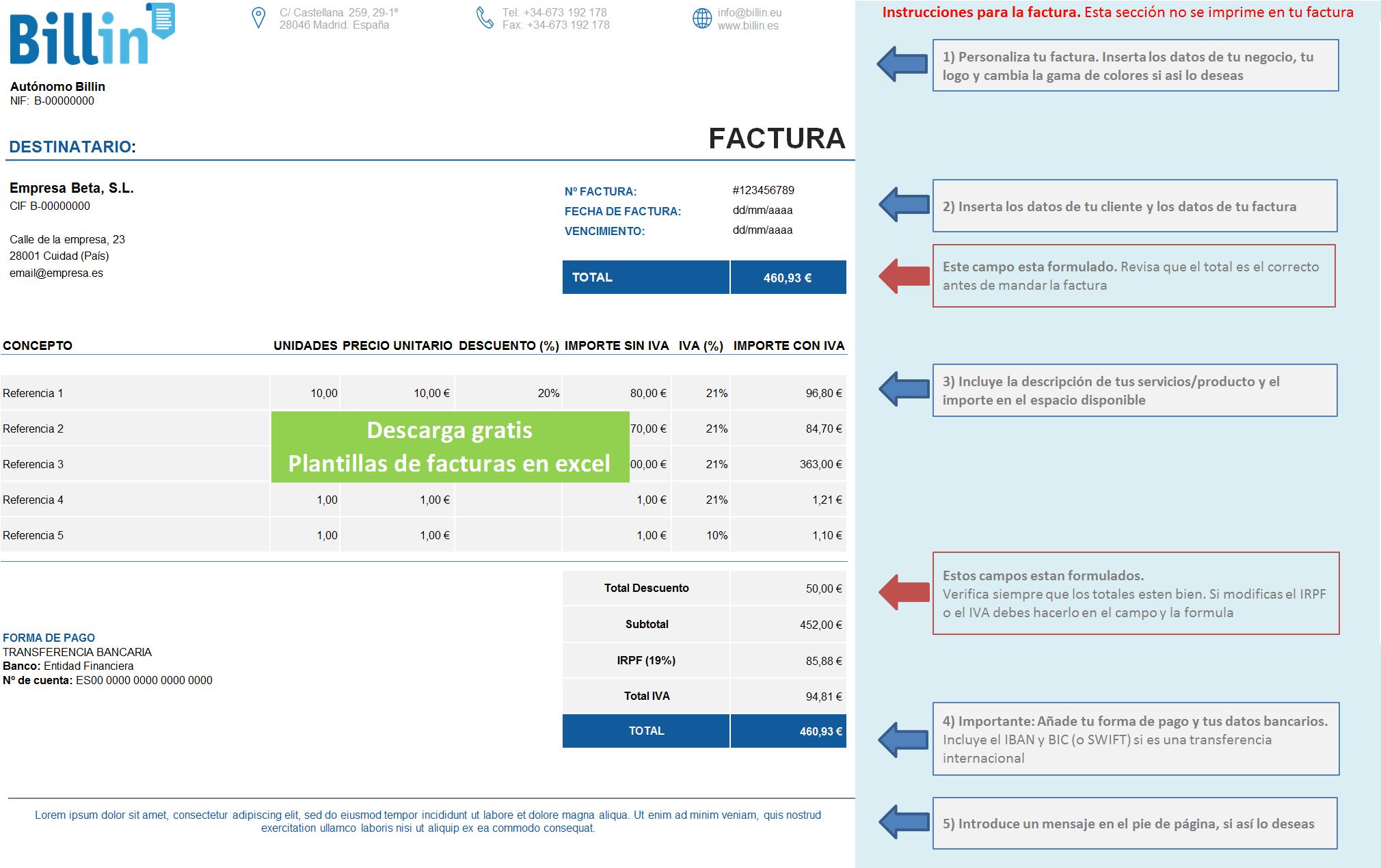 Descarga tus plantillas de facturas en Excel Gratis Blog Billin
