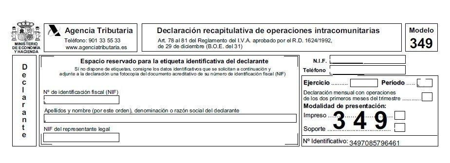 Declaraciones recapitulativas unión europea modelo 349
