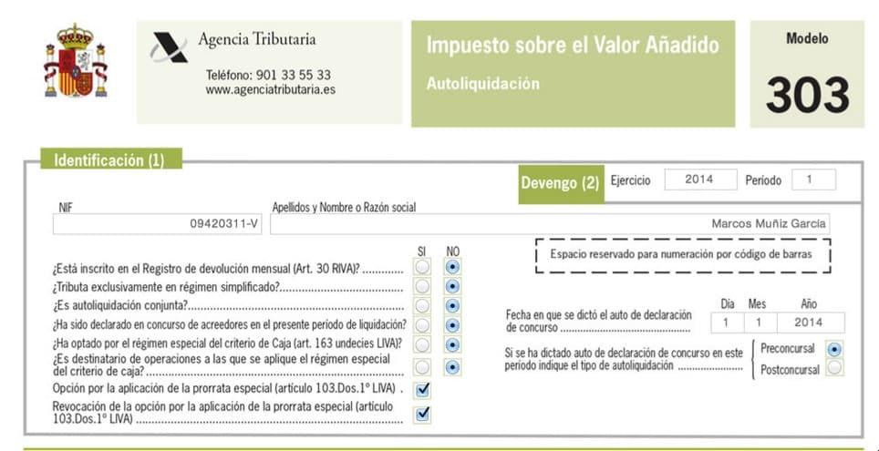 imagen del modelo de Impuesto del Valor Añadido: 303