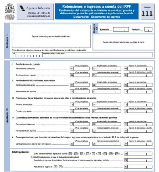 imagen del modelo 11 de la agencia tributaria