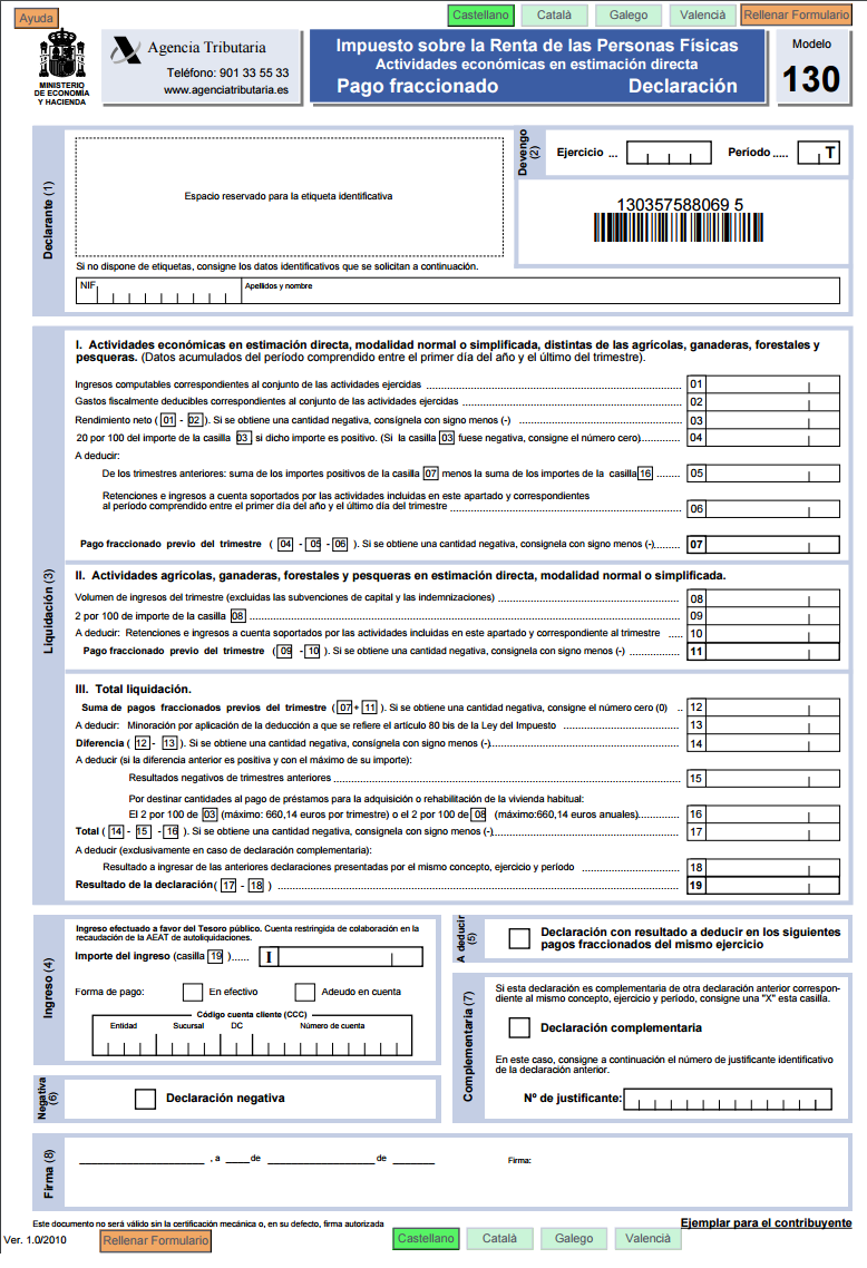 modelo 130 agencia tributaria
