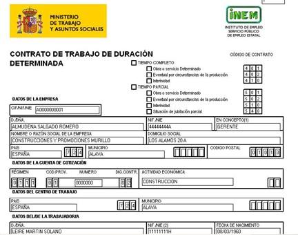 imagen de un contrato de trabajo de duración determinada