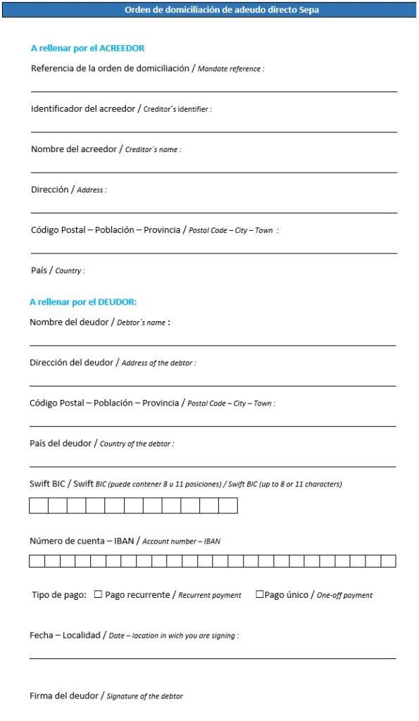modelo autorizacion sepa