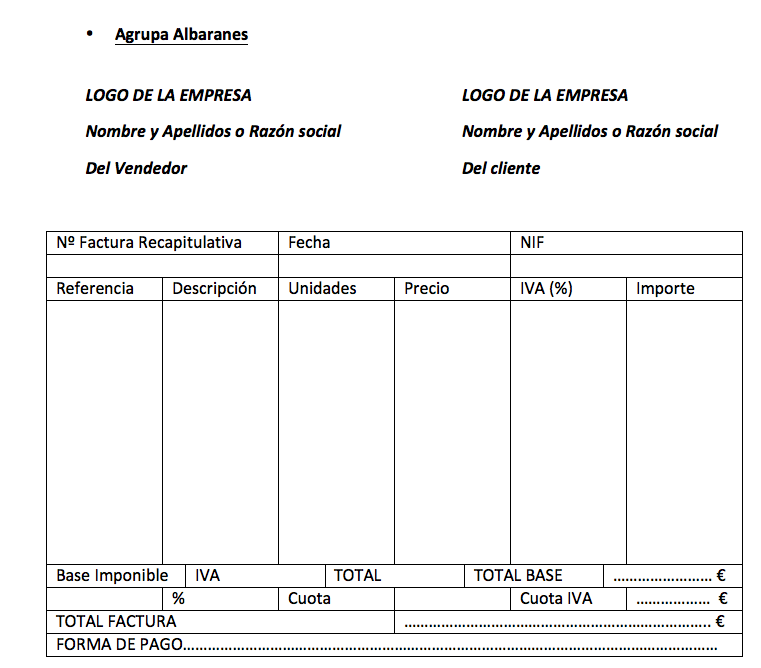 Factura recapitulativa agrupada por albaranes