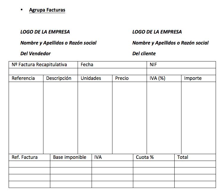 Factura recapitulativa agrupada por facturas