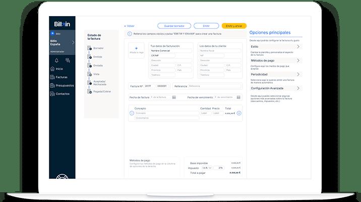 Pantalla de las principales funcionalidades del programa de facturación